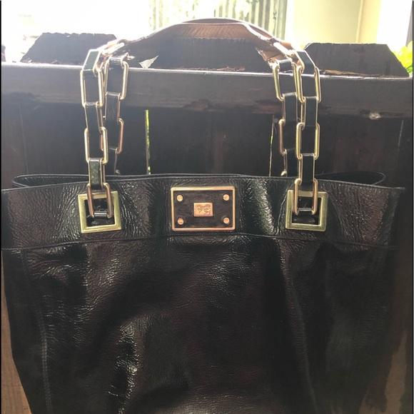 Anya Hindmarch Handbags - A ya Hindmarch Black Patent Leather Handbag